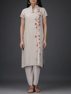 Buy Grey Roll-Up Sleeve Embroidered Linen Kurta Online at Jaypore.com