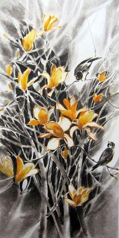Orange Magnolia Original  Japanese Ink Painting Rice Paper Sumi-e Suibokuga Large painting 13 x 27 inch Orange Yellow
