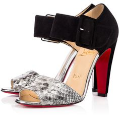 Christian Louboutin Trezotro ($1,095) ❤ liked on Polyvore featuring shoes, christian louboutin, scarpe, silver, ankle tie shoes, high heel shoes, sexy ankle strap shoes and snake skin shoes