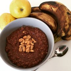 #Yummy and #satisfying #chocolate #banana #oats for #perfect breakfast.