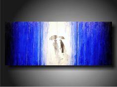 Art Painting Original Jmjartstudio OriginaL 3 Piece PaintIng 20 inches X 48 inches Blue Blue Blue-----Taking Chances------Textured-. $279.00, via Etsy.