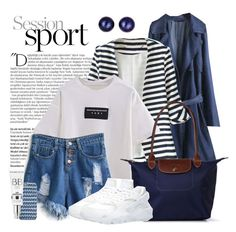 """""""Navy Stripes _ Beautiful Halo"""" by by-jwp ❤ liked on Polyvore featuring Balmain, Longchamp, Kevin Jewelers, women's clothing, women's fashion, women, female, woman, misses and juniors"""