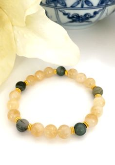Handcrafted Citrine Dark Green Rutilated Quartz and Gold Beaded Bracelet, Natural Gemstone Bracelets, Healing Crystals, Gifts for Her by DesignsbyLolaBelle on Etsy