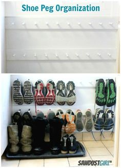 Super cheap and easy shoe organization - also check out http://theprojectaddict.com/wall-shoe-organizer-and-a-antique-mirror-for-the-entry/ for supply sources
