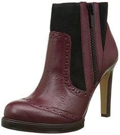 French Connection Women's Berta Zinfandel/Black Tumbled Leather Shoe