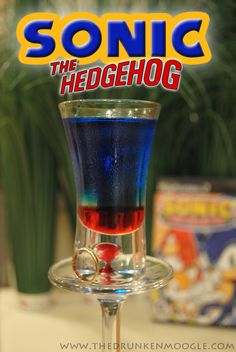 Sonic the Hedgehog (Sonic the Hedgehog shot) Ingredients:1 part grenadine2 parts Menthomint Schnapps4 parts Blue Curacao  Directions: Pour in the grenadine first. Then layer the Mentholmint schnapps and Blue Curacao on top, in that order.