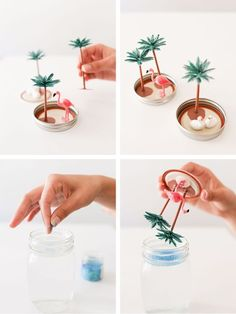 Learn how to make the sunniest summer snow globes via Gray Malin design DIY Design: Summer Snow Globes Pot Mason Diy, Mason Jar Crafts, Diy Snow Globe, Snow Globes, Diy Simple, Easy Diy, Cute Crafts, Diy Crafts To Sell, Sell Diy