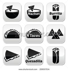 Mexican food buttons - tacos, nachos, burrito, quesadilla  by RedKoala #Mexico #cuisine #yummy