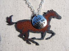 God Gave Me You Horse Necklace by Whippoorwill Valley.   https://www.etsy.com/listing/279783666/horse-necklace-god-gave-me-you-horse?ref=shop_home_active_1