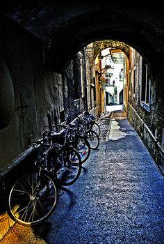 Kramgasse, Old Berne (the medieval city center of Bern, Switzerland)