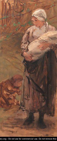 Mother and child - Bernardus Johannes Blommers