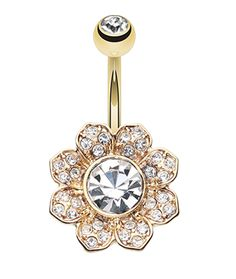 Golden Colored Avens Flower Sparkle Belly Button Ring - 14 GA (1.6mm) - Clear - Sold Individually