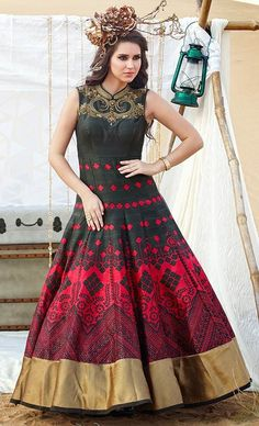 33458804f6826 Buy red and green bhagalpuri silk embroidered