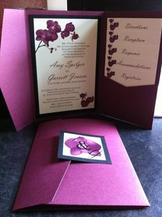 Orchid Dream invitation by Jones Street Designs, LLC. $4.85/Pocketfold with 5 inserts and monogram.