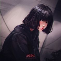 Anime picture original axsen single short hair black hair looking away signed lips head tilt watermark girl 495639 de Art Anime, Anime Neko, Anime Art Girl, Manga Girl, Kawaii Anime, Anime Girl Short Hair, Hinata Hyuga, Naruhina, Boruto