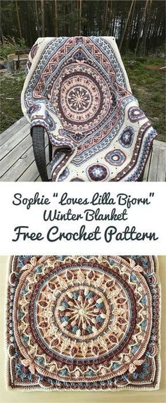 "This pattern is incredibly exciting all the way along! Sophie ""Loves Lilla Bjorn"" Winter Blanket is a patchwork of other crochet patterns. Everyone who undertakes this challenge adds something beautiful from himself! Link for free pdf pattern is below! Skill Level: Intermediate, Craft: Crochet Sophie ""Loves Lilla Bjorn"" Winter Blanket – Download free PDF pattern"