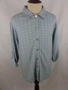 SAHALIE Mens Dress Shirt size MEDIUM Embroidered Plaid Button Front Rayon Cotton #Sahalie