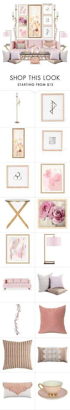 """Pink"" by anmarga ❤ liked on Polyvore featuring interior, interiors, interior design, home, home decor, interior decorating, JAlexander, Pottery Barn, Safavieh and JLA Home"