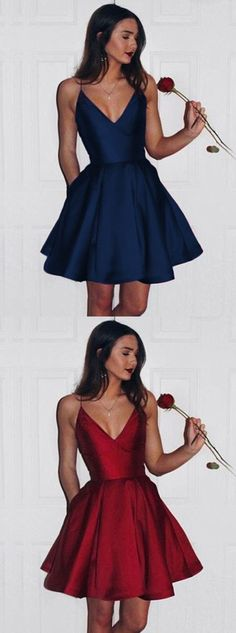burgundy homecoming dresses, hoco dresses, v neck short prom dresses by Hiprom, $106.00 USD