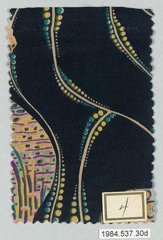 ¤ Textile design by Gustav Klimt, manufactured by Wiener Werkstätte, ca.1920 | The Metropolitan Museum