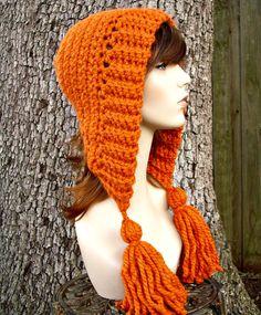 Crochet el sombrero de las mujeres de sombrero campana naranja