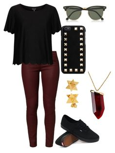 Untitled #122 by jadaxoxo12 on Polyvore featuring polyvore, fashion, style, Topshop, AG Adriano Goldschmied, Vans, Kenneth Jay Lane, Elisabeth Bell, Valentino and Ray-Ban