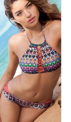 40df5a7d5d NWT Luli Fama women size M Medium Lil Gem Halter bikini top #LuliFama  #BikiniTop