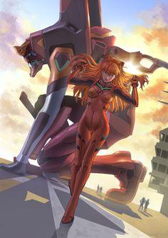 Evangelion - Asuka and Unit03 by 季風 Neon Genesis Evangelion