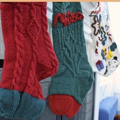 Knitted Christmas Stockings - Melly Sews Knitted Christmas Stockings, Christmas Knitting, Hand Knitting, Two By Two, Sewing, Fashion, Moda, Needlework, Sew