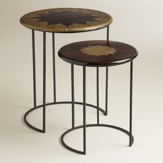 "Priya Inlay Nesting Tables, Set of 2 | World Market $130 Small table: 16""Dia. x 19.5""H; Large table: 20""Dia. x 23""H"