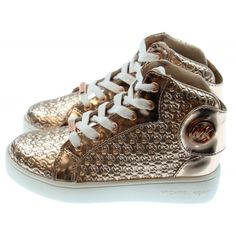 Girl's Rose Gold High Top Sneakers with Embroidered Logo. Available now at www.chocolateclothing.co.uk