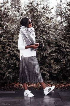 Metallic skirts with cool sneakers #ad