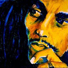 Bob Marley Portrait in Oil Pastels