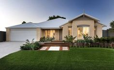 Image result for cream brick house with colorbond roof