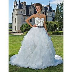 Ball Gown Sweetheart Cathedral Train Organza And Satin Wedding Dress  – USD $ 599.99