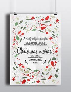 """Affiche de Noël / Poster - """"Christmas market"""" on Behance by Pauline Gueuning. Layout, graphic design, mise en page, marché de Noel, annonce, affiche, poster, exhibition, ..."""