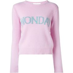 Alberta Ferretti Monday jumper ($495) ❤ liked on Polyvore featuring tops, sweaters, slim fit sweaters, pink top, pastel sweaters, rainbow jumper and pink jumper