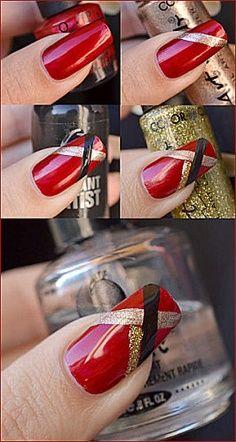 nail art designs step by step Red Nails, Love Nails, How To Do Nails, Pretty Nails, Christmas Nail Art Designs, Christmas Nails, Christmas Design, Nails Decoradas, Nail Art Noel