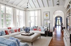 New England style living room with nautical decor
