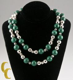 """Tiffany & Co. Sterling Silver & Malachite Beaded Necklace w/ Pouch 29"""" Retired! #TiffanyCo #StrandString"""