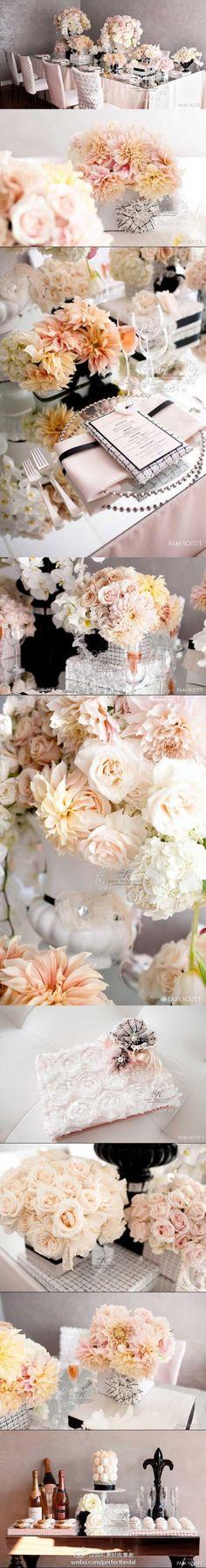 灵感来源于香奈儿的婚礼餐桌布置细节~绝美裸色系~
