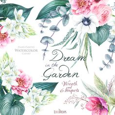 Wedding Watercolor Wreath & Bouquets, Helleborus Flowers, Anemone, Eucalyptus, Hand painted clipart, floral invitations, greeting card