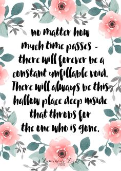 There will always be a hollow place deep inside that throbs for the one who is gone. Miscarriage, stillbirth, infant loss, child loss quote