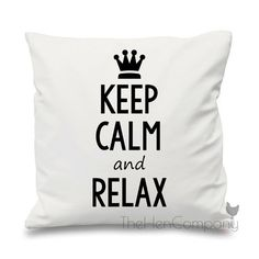 Keep Calm and Relax Quote Cushion Cover Gift by TheHenCompany