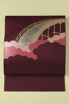 Purple hassun nagoya obi / 紫地 雲と橋のお太鼓柄 化繊八寸名古屋帯   #Kimono #Japan http://global.rakuten.com/en/store/aiyama/
