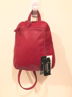 257929be5d Tignanello Backpack Sling Bag Vintage Red Leather Medium Size never used