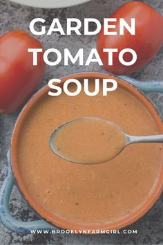 Creamy Tomato Soup using fresh roma plum tomatoes! This easy homemade recipe is perfect for when you are picking fresh tomatoes from the garden! You will never buy canned tomato soup again! Fresh Tomato Soup, Cream Of Tomato Soup, Canned Tomato Soup, Fresh Tomato Recipes, Cucumber Recipes, Delicious Dinner Recipes, Yummy Food, Easy Homemade Recipes, Free Recipes