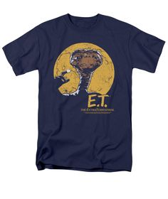 the Extra-Terrestrial - Moon Frame Adult T-Shirt. Now you can be part of the hype with this navy colored, officially licensed t-shirt made of pre-shrunk cotton. This t-shirt is perfect for a true E. the Extra-Terrestrial fan. Cool Tees, Cool T Shirts, Stylish Shirts, Preston, Movie Shirts, Navy Tees, Personalized T Shirts, Unisex, Custom T