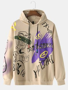 Package included 1  HoodiePlease Note 1 Please see the Size Reference to find the correct size Zip Up Hoodies, Cool Hoodies, Mens Sweatshirts, Clothes For Sale, Custom Clothes, Graffiti Cartoons, Black Khakis, Types Of Sleeves, Outfits