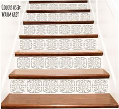 Stair Stickers   Victorian Vinyl Tile Decals For Stair Risers   Stairway  Staircase Escalier Wall Decor Decoration